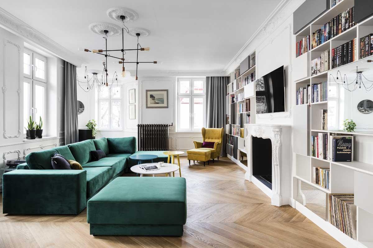 Mocne akcenty kolorystyczne w aranżacji salonu | proj. Anna Maria Sokołowska Architektura Wnętrz (zdjęcie: Fotomohito)