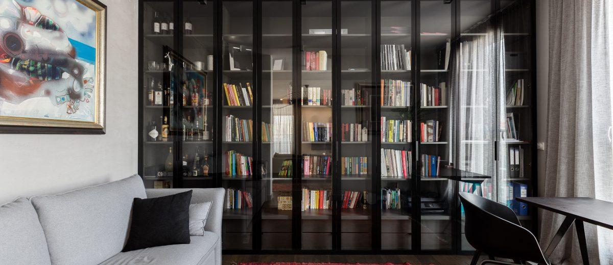 Domowy gabinet z biblioteczką | proj. Dmowska Design
