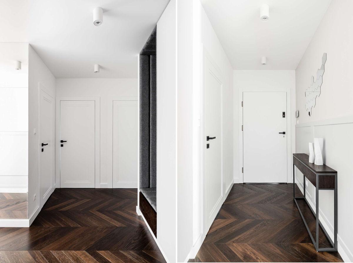 Piękna drewniana podłoga ułożona w jodełkę