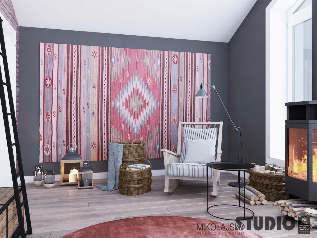 Dywan kilim na ścianie | proj. Mikołajska Studio
