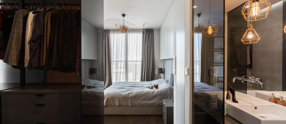 Sypialnia z garderobą i łazienką | proj. Dmowska Design