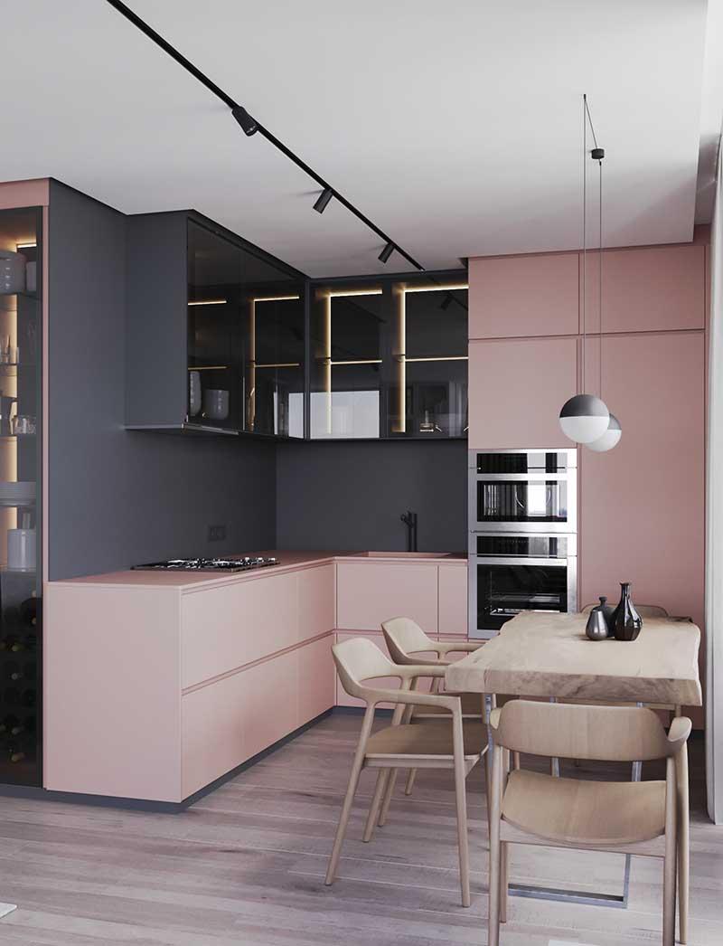 Kuchnia nowoczesna szaro-różowa