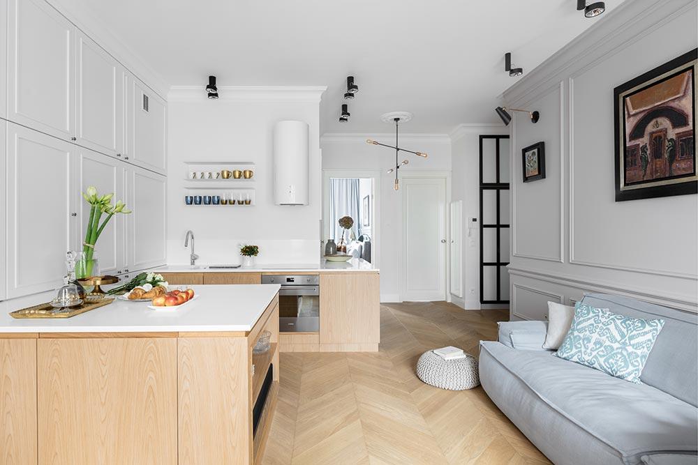 Salon z kuchnią Domagała Design