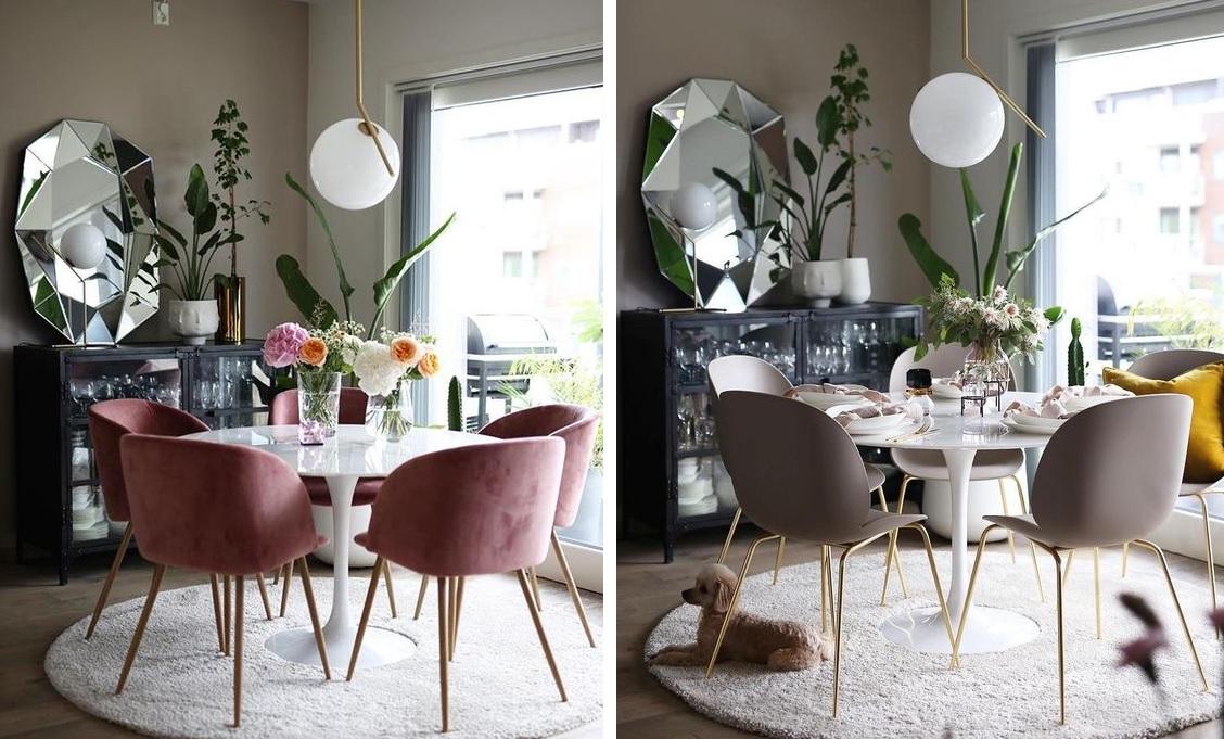 Jadalnia z różowymi i szarymi krzesłami