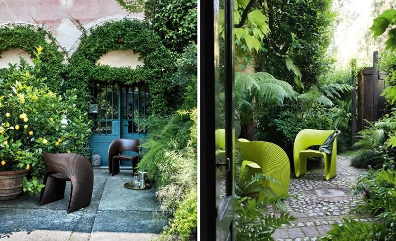 Aranżacja ogrodu powinna czerpań z harmonii natury | Na zdjęcie znajdują się meble marki Magis, które możesz kupić w naszych showroomach