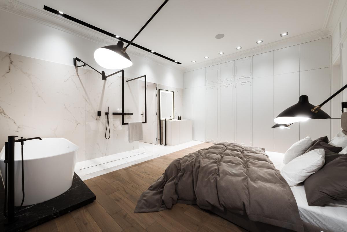 proj. Nasciturus design nowoczesny projekt łazienki połączonej z sypialnią