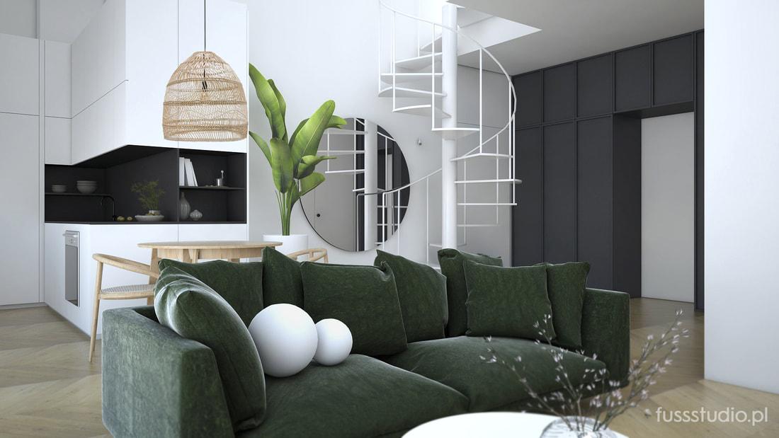 Salon z zieloną welurową sofą | Fuss Studio
