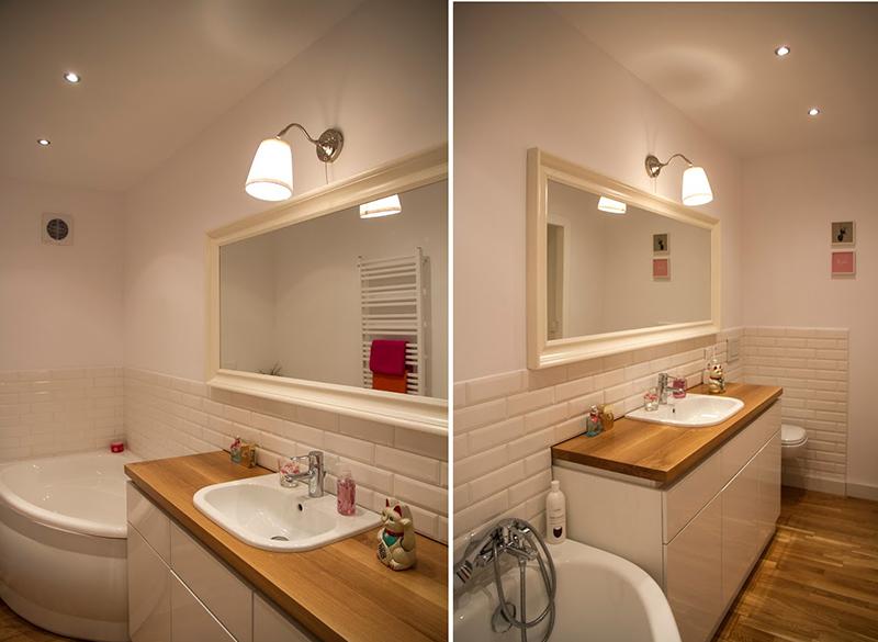 Narożna wanna w małej łazience | proj. Dziurdzia Projekt
