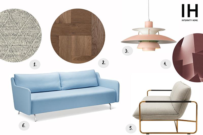 1. Dywan Mooqo  2. Deski podłogowe Chapel Parket | 3. Lampa Louis Poulsen | 4. Tapeta Wall & Deco | 5. Sofa Softiline | 6. Sofa Softiline