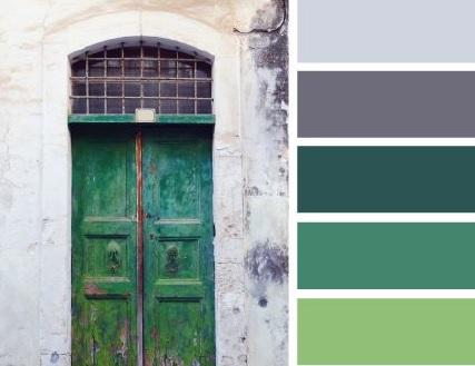 Łączenie zieleni i szarego