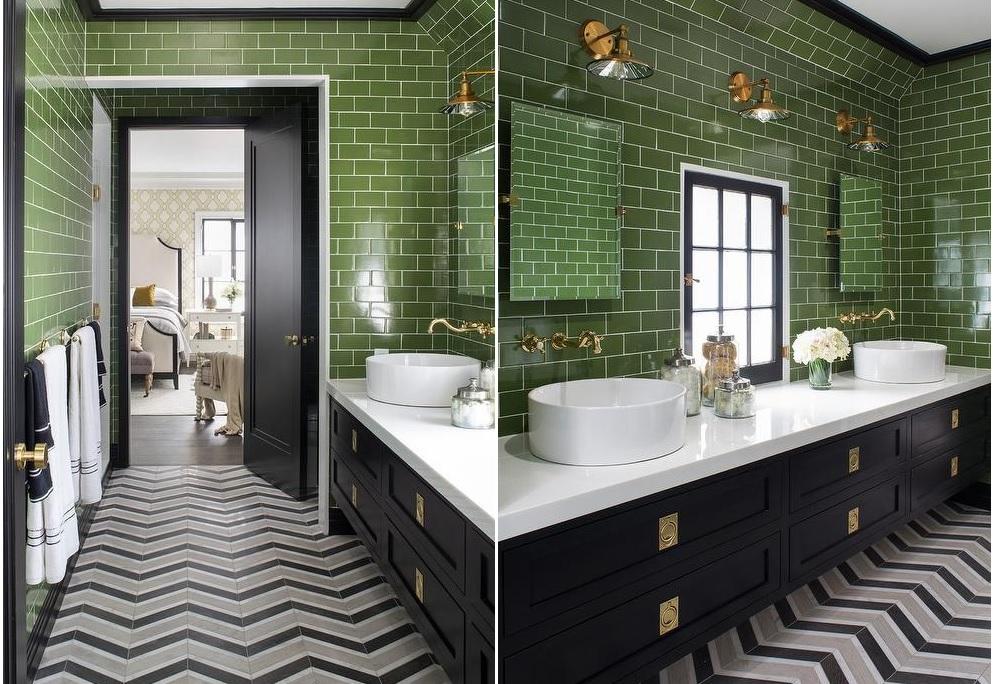 Zielono czarna łazienka