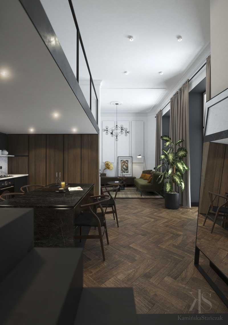 Aranżacja małego mieszkania | proj. KamińskaStańczak
