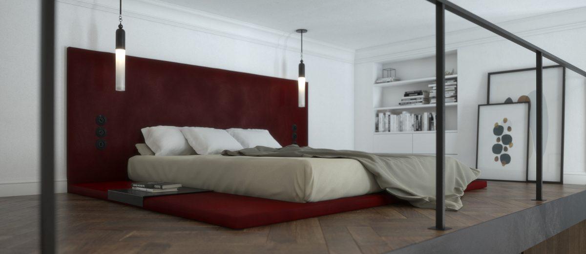 Sypialnia na antresoli | proj. KamińskaStańczak