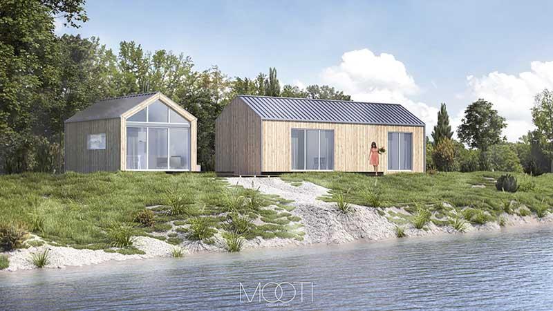Domki Mooti domki w konfiguracji L + S nad samą rzeką Narew!