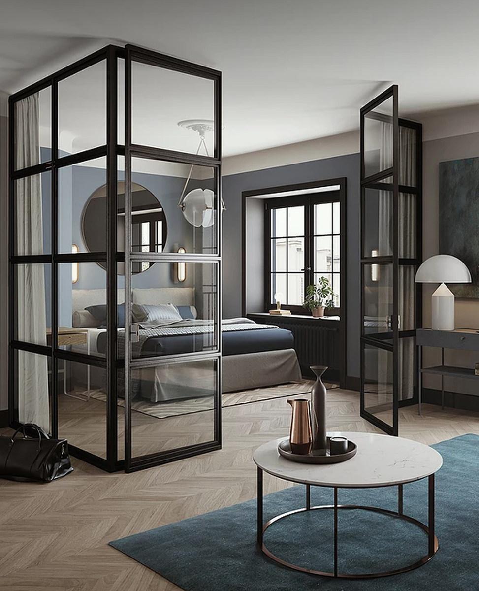 Przeszklenie w industrialnym stylu w eleganckim apartamencie