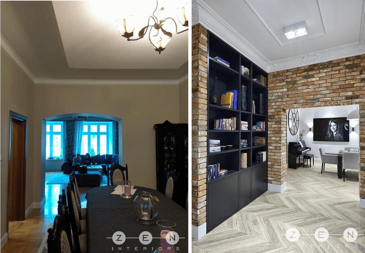 Mieszkanie przed i po remoncie zrealizowanym pod przewodnictwem biura projektowego ZEN Interiors