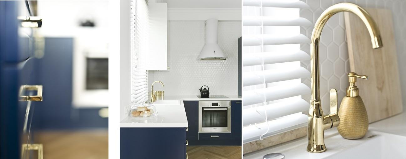 Projekt kuchni ze złotymi elementami | Architekt Miskiewicz