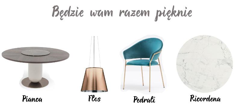 Stół - Pianca | Lampa - Flos | Krzesło - Pedrali | Ceramika - Ricordena