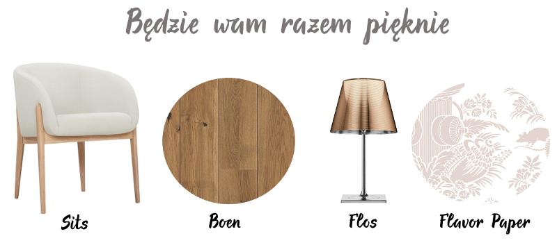 Krzesło - Sits | Deska podłogowa - Boen | Lampa - Flos | Tapeta - Flavor Paper