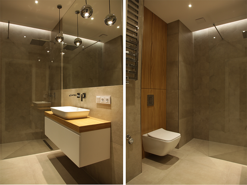 Oświetlenie w łazience zaprojektowane przez naszego eksperta w Internity Home w Warszawie - Wojciecha Mantura