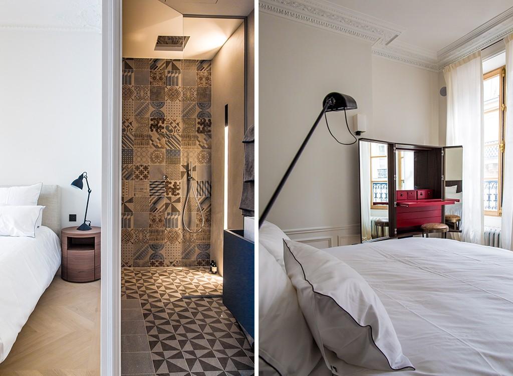 Paryski Apartament | łazienka wykończona płytkami Mutina Azulej