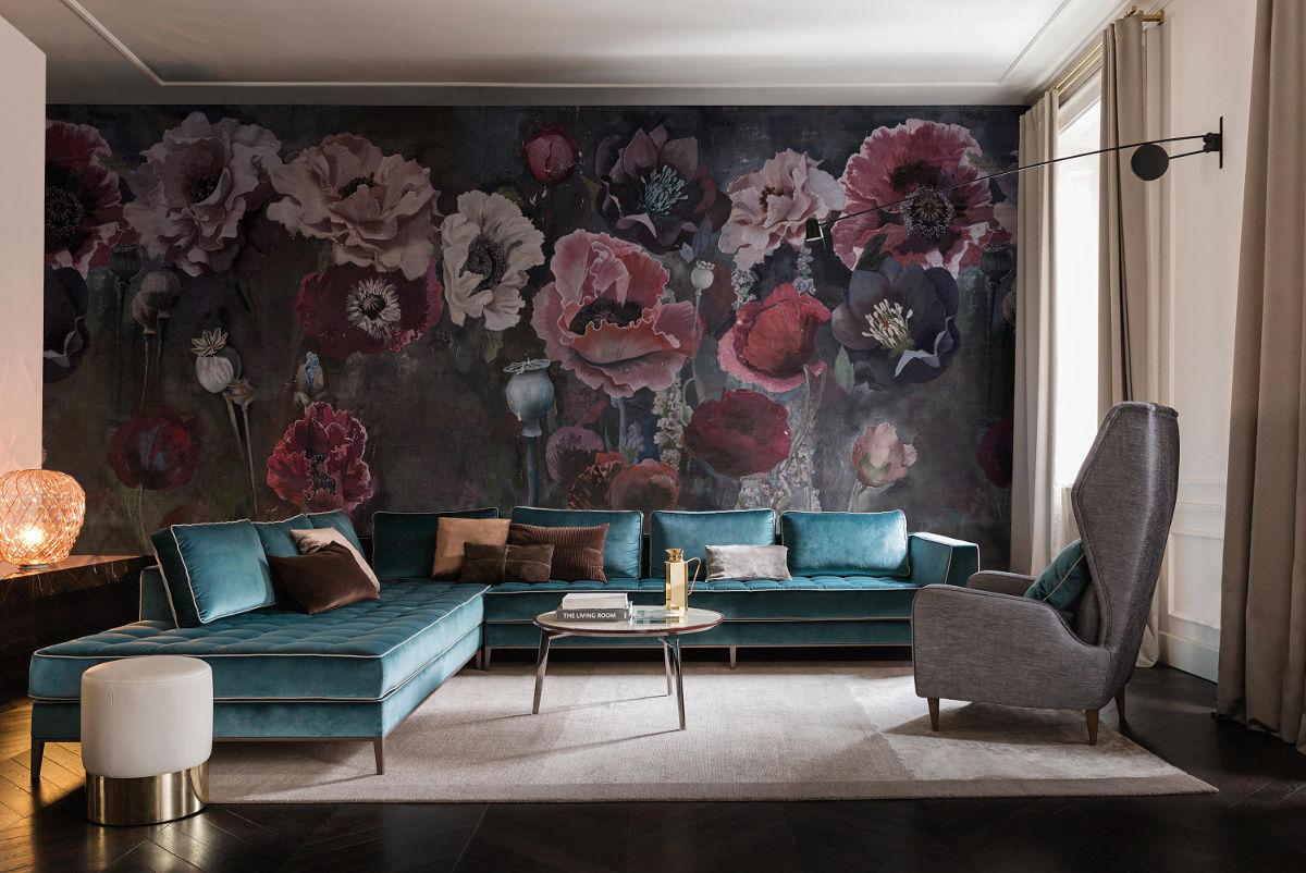 Tapeta Pavot marki Wall & Deco jako jedna wielka grafika na ścianie