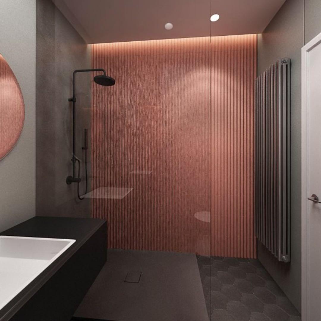 Projekt łazienki Anna Koszela - miedziane płytki Mutina Rombini