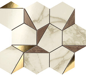 Płytki Atlas Concorde Marvel Edge Gold Hex Brown – Calacatta
