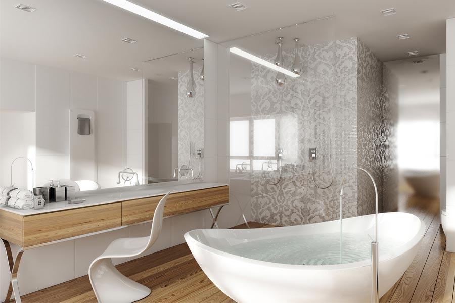 Projekt łazienki z odrobiną glamour