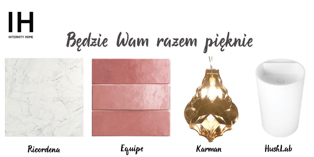 Płytka marmurowa Ricordena | Płytka Equipe | Lampa Karman | Umywalka HushLab