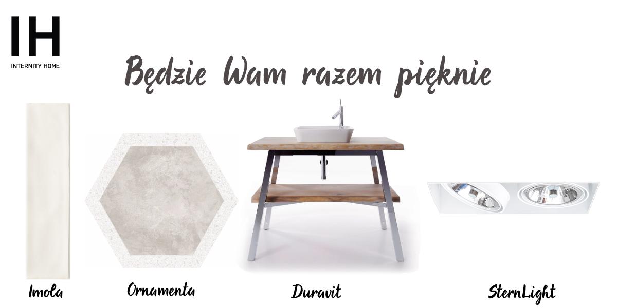 Płytka Imola | Płytka heksagon  w delikatny wzór lastryko | Szafka pod umywalkę Duravit | Oprawa wpuszczana SternLight