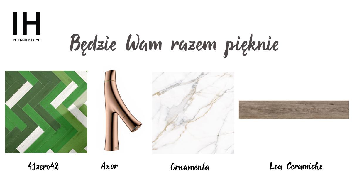 Płytki 41zero42 | Złota bateria umywalkowa Axor | Marmurowa płytki z akcentami złota Ornamenta | Drewnopodobna płytka Lea Ceramiche