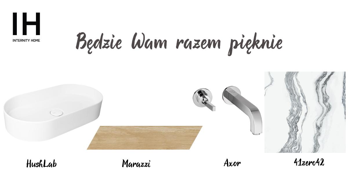 Umywalka HushLab | Ścięta płyta drewnopodobna Marazzi | Bateria umywalkowa Axor | Marmurowa płytka 41zero42