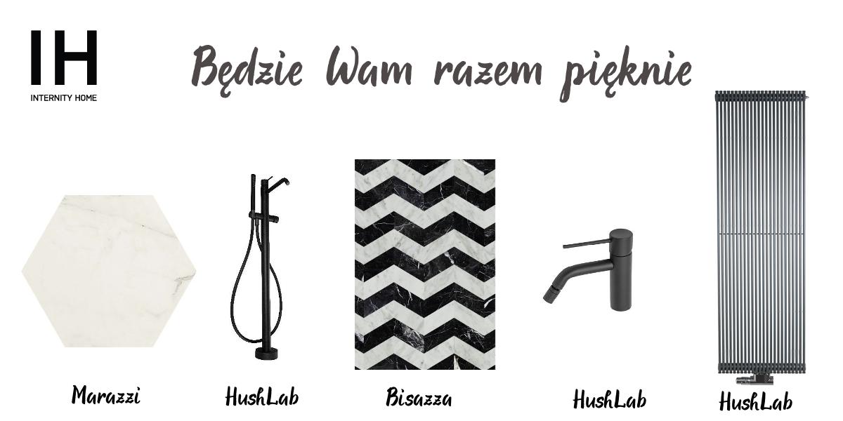 Płytka heksagonalna Marazzi | Bateria wannowa HushLab | Płytki w chevron Bisazza | Bateria bidetowa HushLab | Grzejnik dekoracyjny HushLab