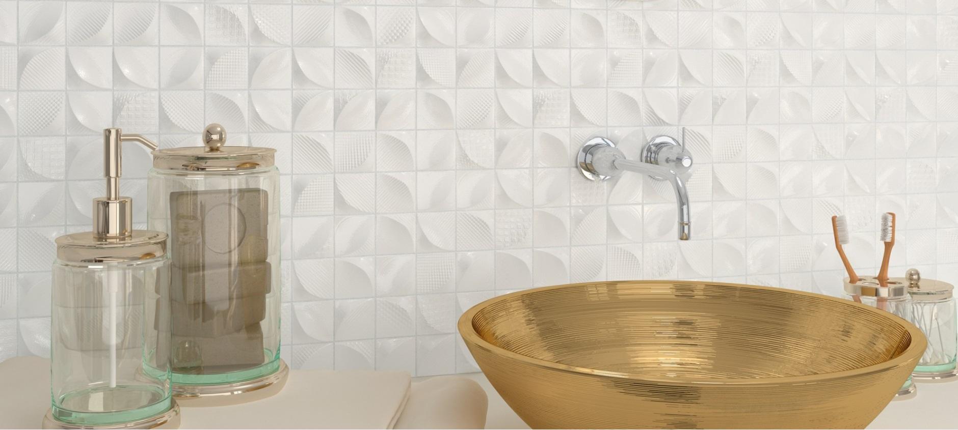 Producent Dune płytki oraz umywlka złota w nowoczesnje łazience