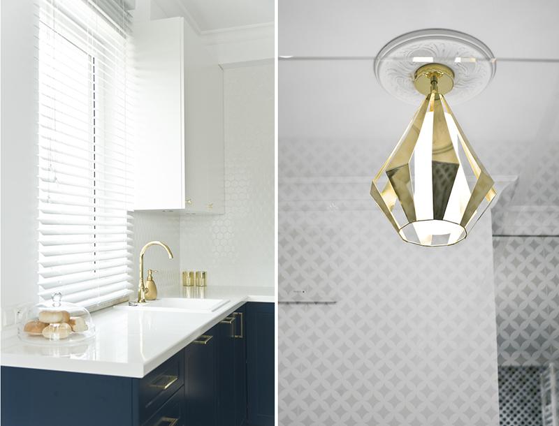 Miśkiewicz Design projekt kuchni ze złotymi elementami