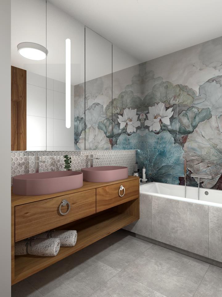 Tapeta w łazience projekt LOFTSTUDIO Irena Lang i Dominika Wąs