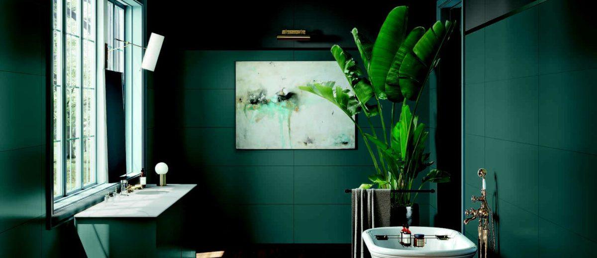łazienka w butelkowej zieleni