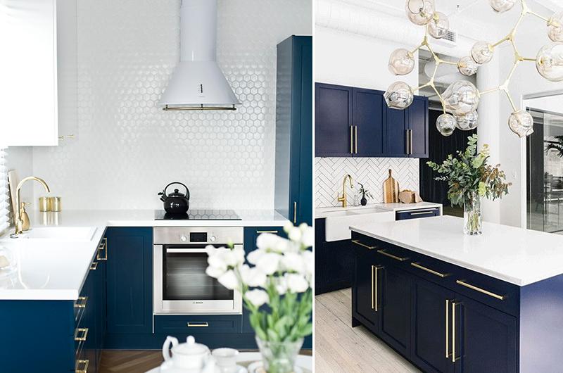 Aranżacje kuchni z niebieskimi meblami i złotymi detalami
