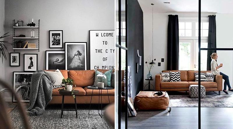 Salon z rudą sofką