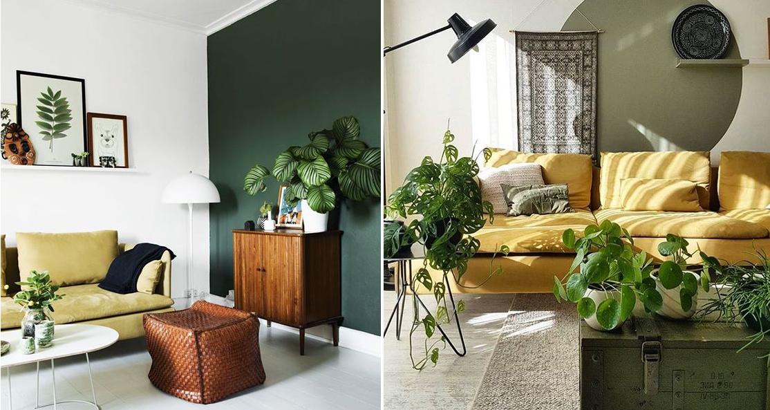 Żółta sofa w salonie jest wspaniałym akcentem kolorystycznym