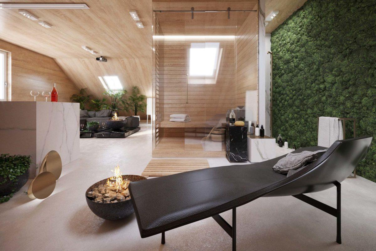 Salon kąpielowy ze ścianą zieleni | proj. Kando_Architects