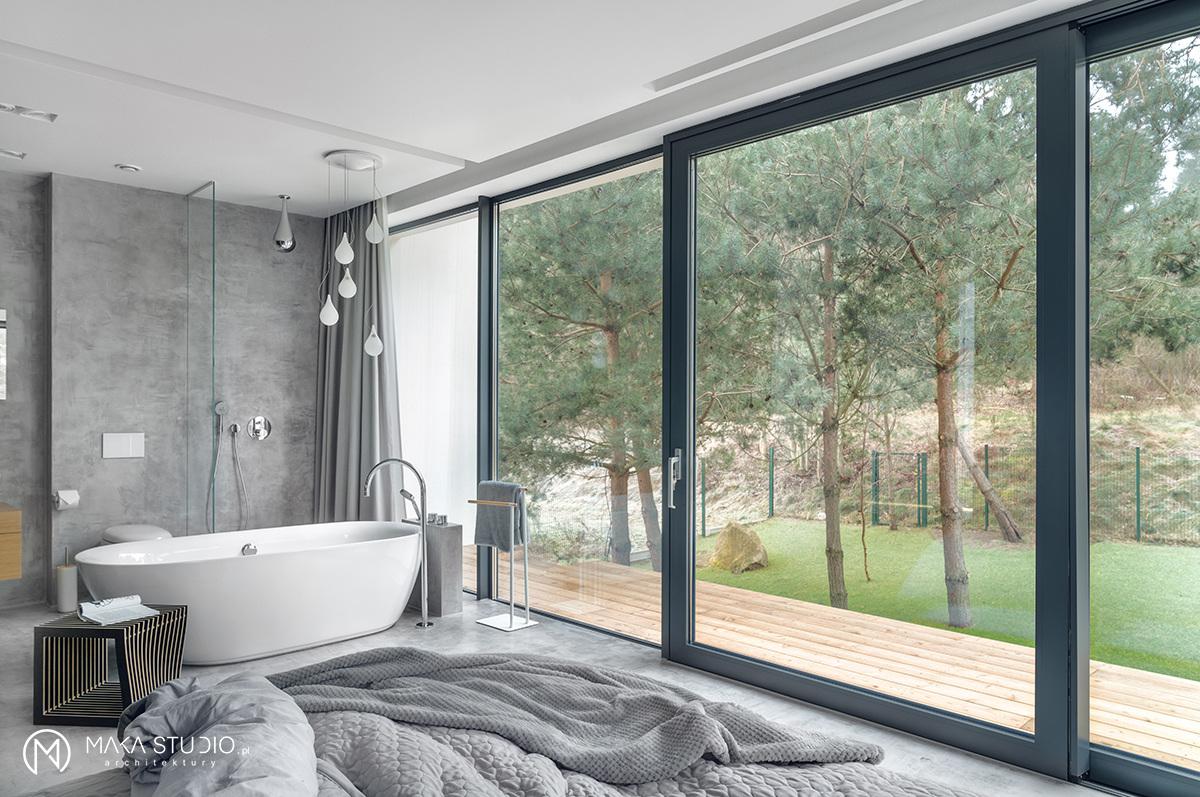 Często salony kąpielowe są łączone z sypialnią | proj. MAKA.STUDIO