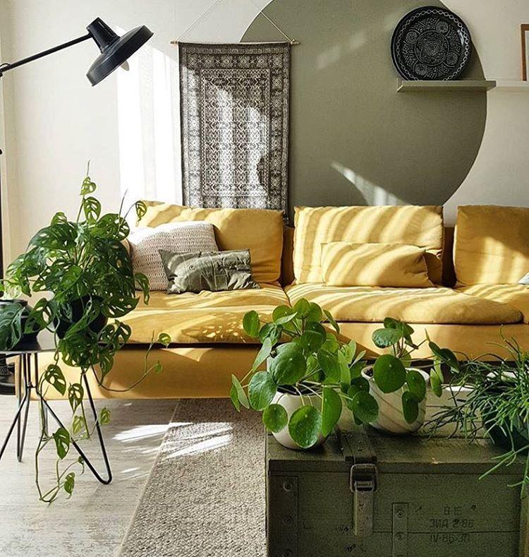 Żółta welurowa sofa
