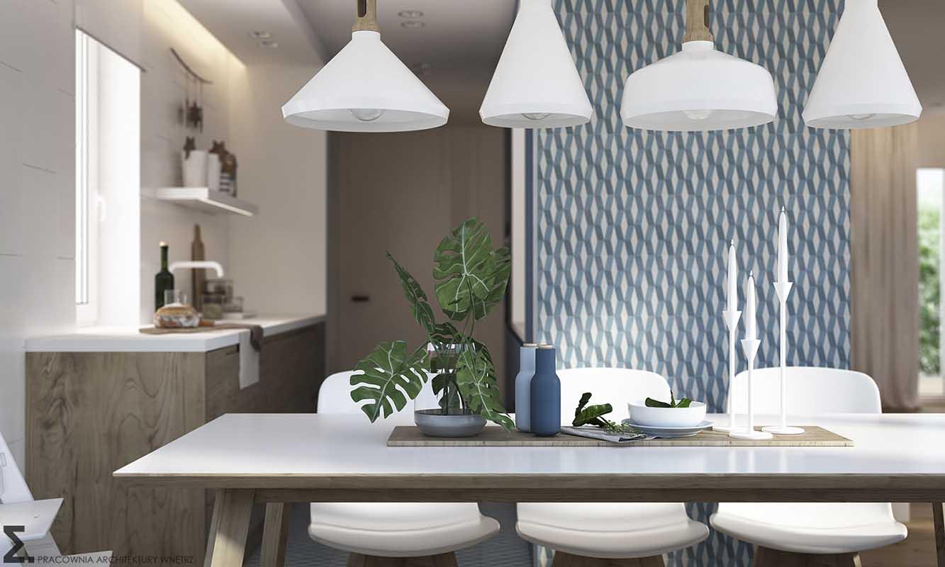 Projekt kuchni pracowni Elementy z wykorzystaniem płytek Mutina kolekcja Azulej