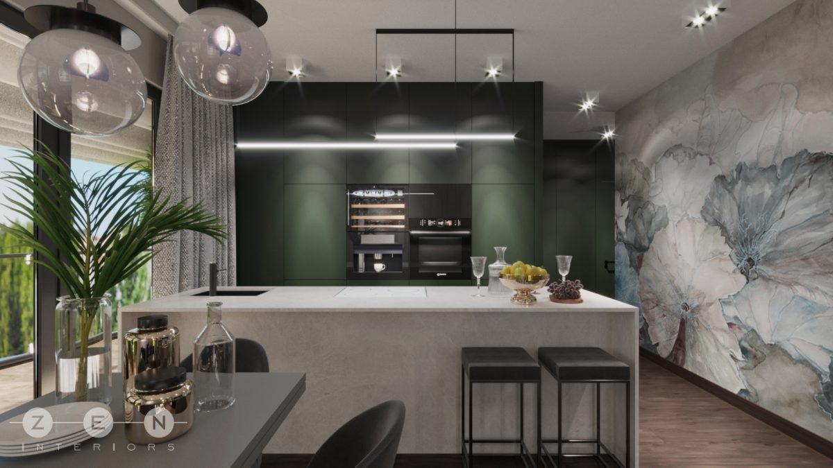 Projekt kuchni z tapetą wodoodporną od Wall & Deco, którą możecie zamówić w naszych showroomach (proj. Zen Interiors)