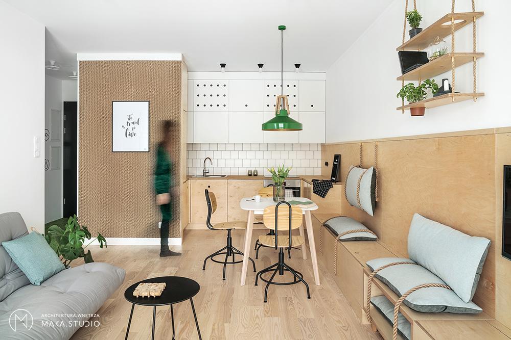 Aranżacja 45 - metrowego mieszkania | proj. maka.studio, fot.: Tom Kurek