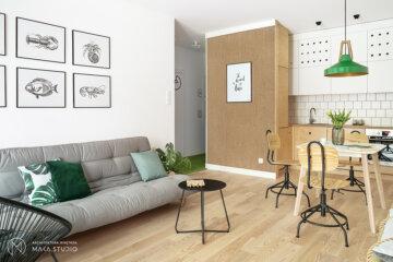 Salon inspirowany stylem marynistycznym | proj. maka.studio, zdj. Tom Kurek