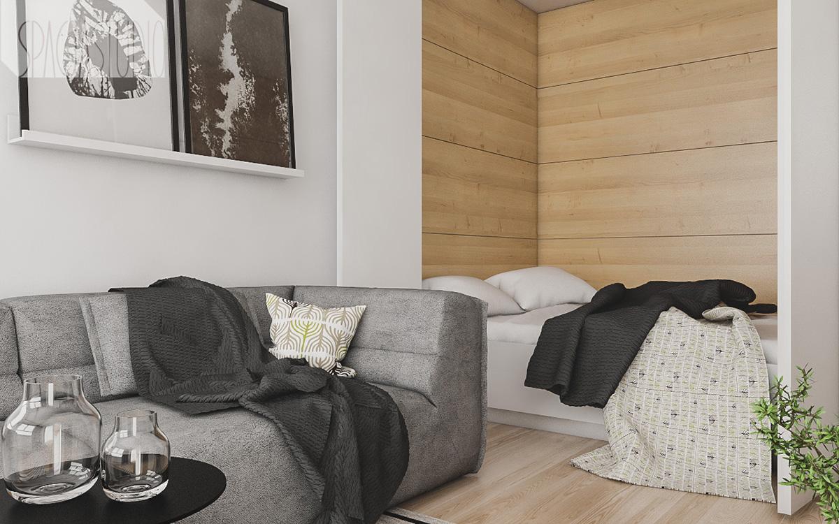 Salon i sypialnia w jednym | proj. Spacja Studio