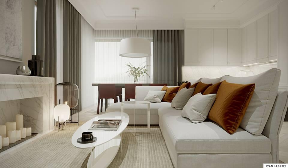 Rude poduszki w białym wnętrzu | proj. Ivan Leskov